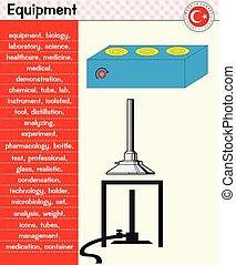 laboratoire, poêle, -, esprits, équipement
