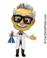 laboratoire, prof, 3d, dessin animé, verre