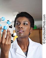 laboratoire science, regarder, moléculaire, prof, structure