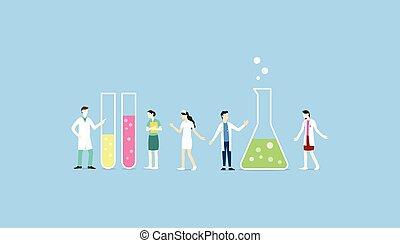 laboratoire, vecteur, collection, tube, équipe, ensemble, -, chimique