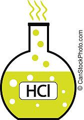 laboratorio, ácido, hydrochloric, vidrio