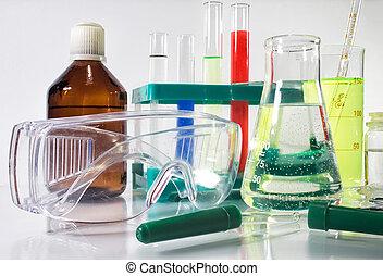 laboratorio, botellas, y, equipment.
