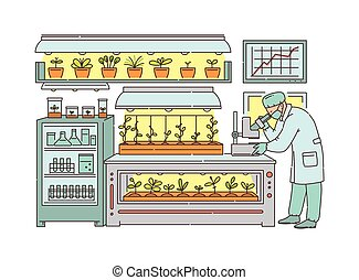 laboratorio, científico, agrícola, vector, carácter, aislado, invernadero, ilustración, bosquejo, trabajando, caricatura, growing., fondo., alimento, agronomist, tecnologías