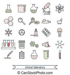 laboratorio, clinico, set, icone