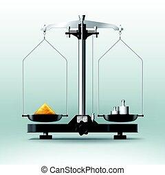 laboratorio, dumbbells, pesas, balance, llenar