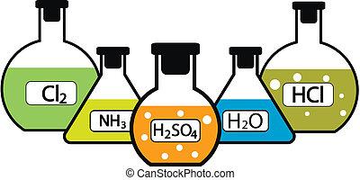 laboratorio, fiaschi, prodotti chimici