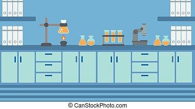 laboratorio, fondo, interior.