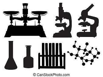 laboratorio, herramientas, conjunto