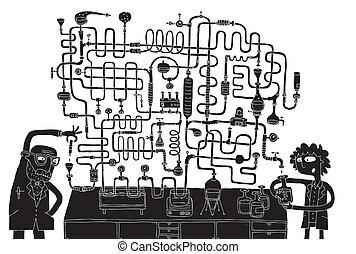 laboratorio, laberinto, juego