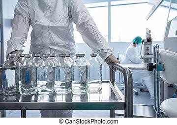 laboratorio, liquidi, fiaschi