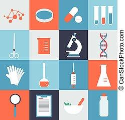 laboratorio médico, ilustración, iconos