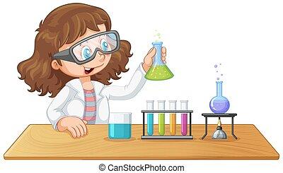 laboratorio, niña, experimento