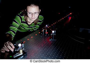 laboratorio, ricerca, scienziato, femmina, quantum, ottica
