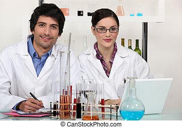 laboratorio, trabajadores