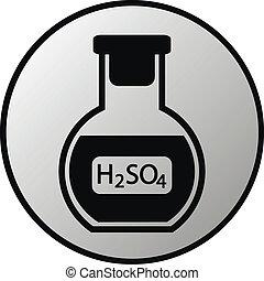 laboratorio, vetro, bottone, asid, solforico
