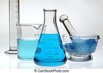 laboratorium, blå