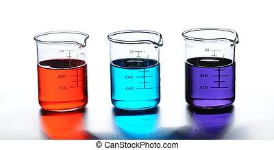 laboratorium, drie, bekers