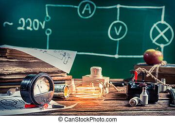 laboratorium, elektrisch, fysica, ervaring