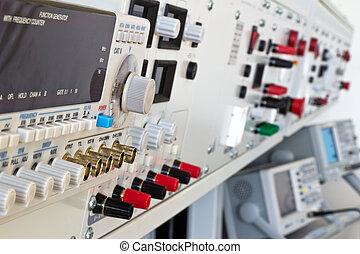 laboratorium, elektrisk, mätning, apparatur, och, mätande...