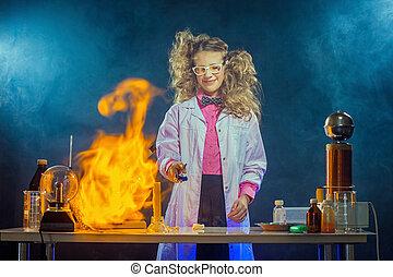 laboratorium, experimentieren, wissenschaftler, neugierig