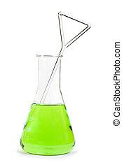 laboratorium, glasbägare, fyllt, med, flytande, ämnen
