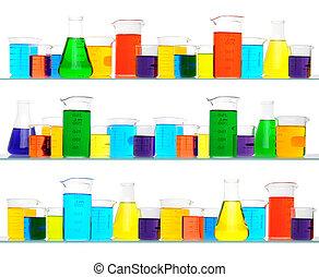laboratorium glassware, drie, planken