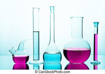 laboratorium glassware, hos, farverig, chemicals