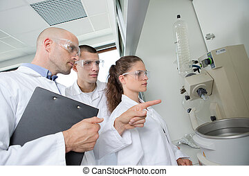 laboratorium, grupa, pracujący, naukowcy