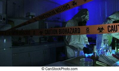 laboratorium, hazardowy, naukowcy