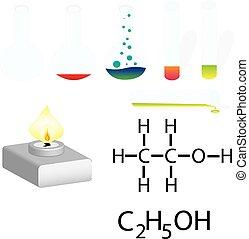 laboratorium, infographic., experiment, laboratorium, chemie