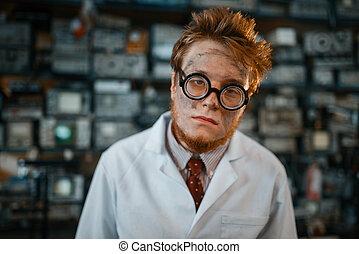 laboratorium, ingenieur, oor, lampen, test, elektrisch