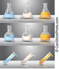 laboratorium, lommeflasker, hos, væsker