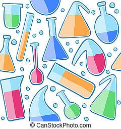 laboratorium, mønster, seamless, glas