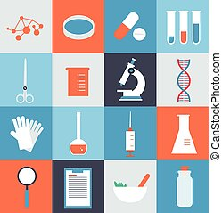 laboratorium medicinsk, illustration, iconerne