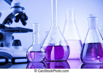laboratorium microscoop, werk aan plaats, glaswerk