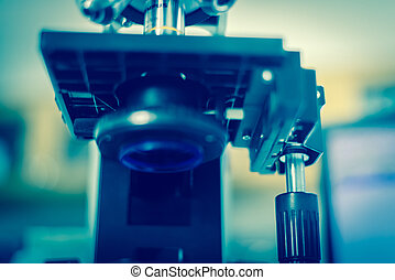 laboratorium, microscope., vetenskaplig forskning