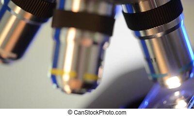 laboratorium, microscope., wetenschappelijk, en,...