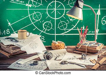 laboratorium, school, mechanisch, ouderwetse