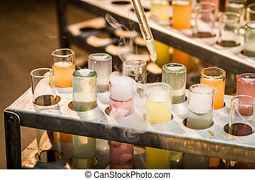 laboratorium, school, oud, buizen, reagents