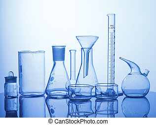 laboratorium., sorteret, glassware, udrustning
