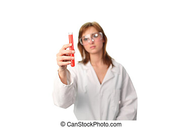 laboratorium., tekniske, foretog, en, experiment