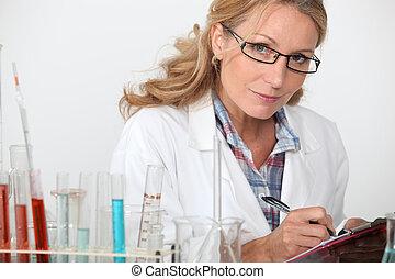 laboratorium, vrouw