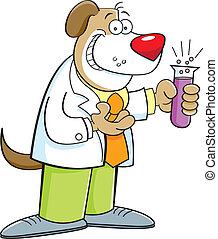 laboratoriumglas, dog, vasthouden, spotprent