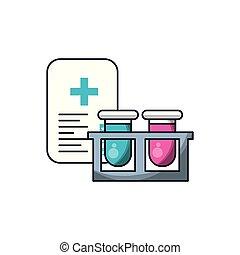 laboratoriumglas, set, document