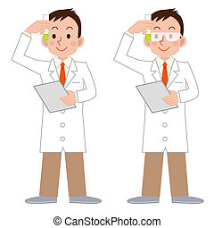 laboratoriumglas, wetenschapper, mannelijke