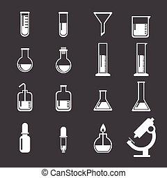laboratoriumsausrüstung, satz, ikone