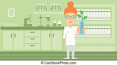 Laboratory assistant with test tube.