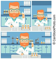 Laboratory assistant working. - A hipster laboratory...