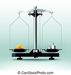 Laboratory balance with weights dumbbells and stuff - Vector...