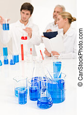 Laboratory - beaker with blue liquid